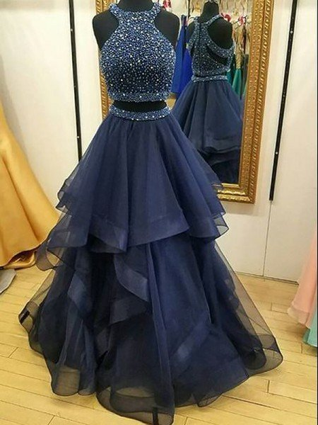 A-Line/Princess Sleeveless Halter Organza Beading Floor-Length Two Piece Dresses