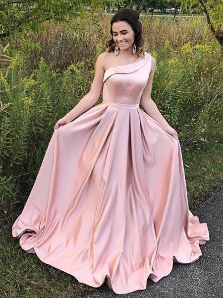 A-Line/Princess One-Shoulder Sleeveless Sweep/Brush Train Ruffles Satin Dresses