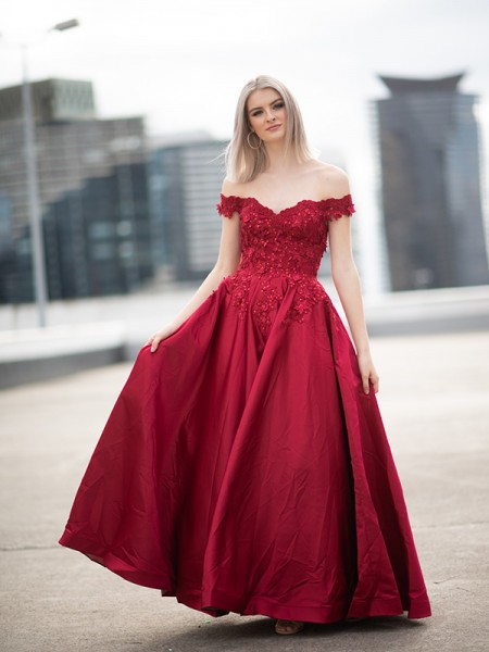 Ball Gown Off-the-Shoulder Satin Applique Sleeveless Floor-Length Dresses