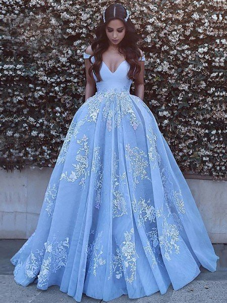 27eef24a489 Ball Gown Sleeveless Off-the-Shoulder Applique Tulle Sweep Brush Train  Dresses