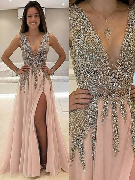 830754ce03c A-Line Princess V-Neck Sleeveless Sweep Brush Train Beading Tulle Dresses