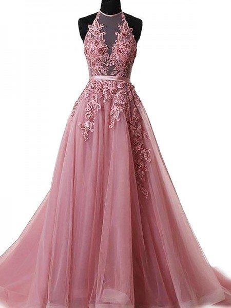 A-Line/Princess Halter Sleeveless Sweep/Brush Train Applique Tulle Dresses