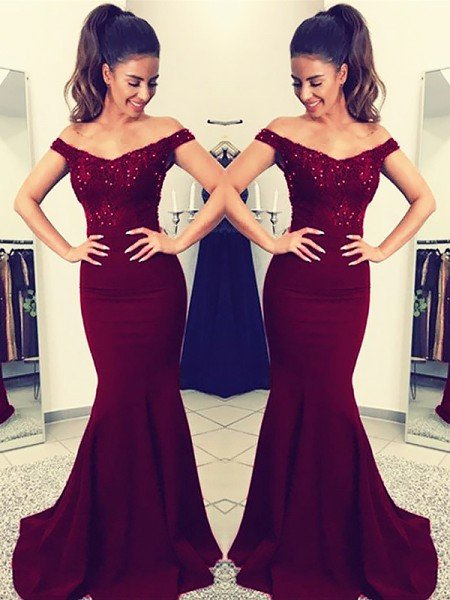 Trumpet/Mermaid Off-the-Shoulder Sleeveless Floor-Length Lace Satin Dresses