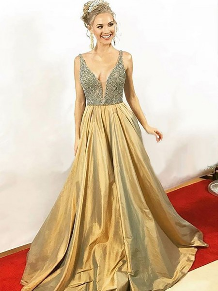 A-Line/Princess V-neck Sleeveless Floor-Length Beading Taffeta Dresses