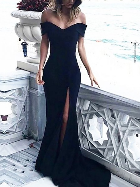 Sheath Off-the-Shoulder Sleeveless Sweep/Brush Train With Ruched Satin Dresses