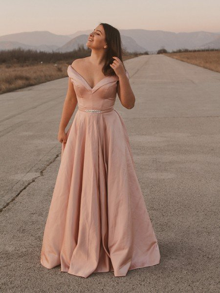 A-Line/Princess Satin Off-the-Shoulder Sash/Ribbon/Belt Sleeveless Floor-Length Dresses