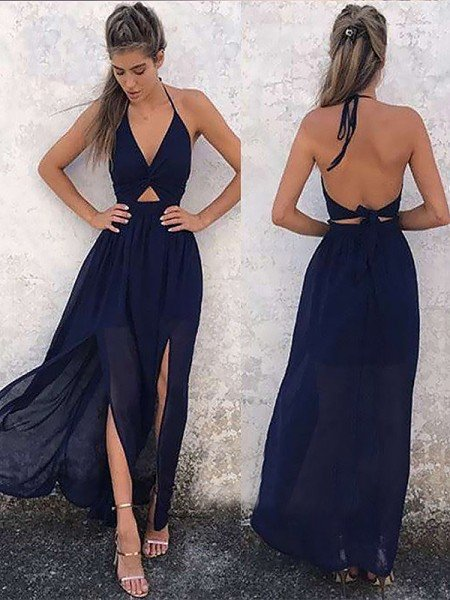 A-Line V-neck Sleeveless Floor-Length With Ruched Chiffon Dresses