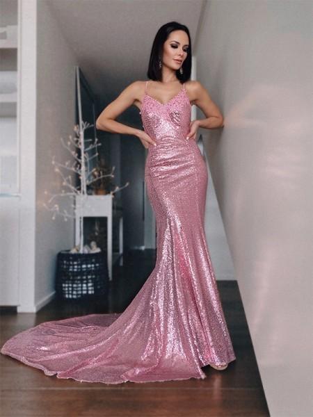 Trumpet/Mermaid Ruffles Sequins V-neck Sweep/Brush Train Sleeveless Dresses