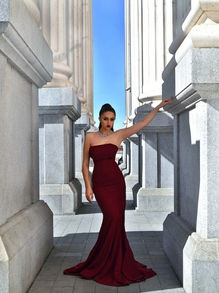 Trumpet/Mermaid Stretch Crepe Sleeveless Ruffles Sweep/Brush Train Strapless Dresses