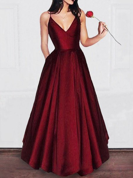 A-Line Princess V-neck Floor-Length Ruffles Satin Dresses 3ffd714dedc4