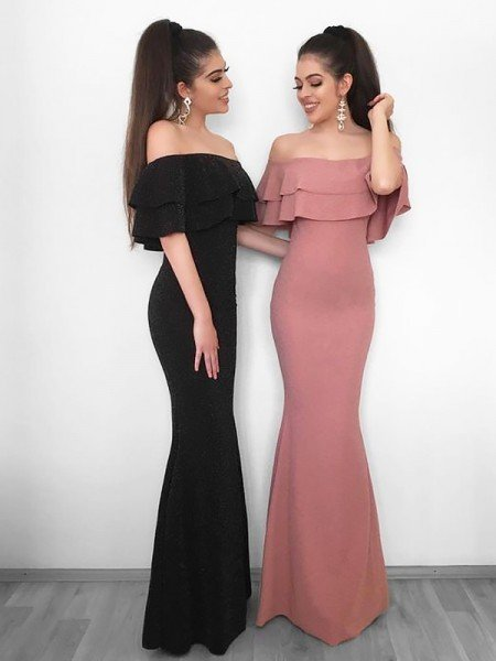 Sheath/Column Off-the-Shoulder Sleeveless Floor-Length Ruffles Chiffon Dresses