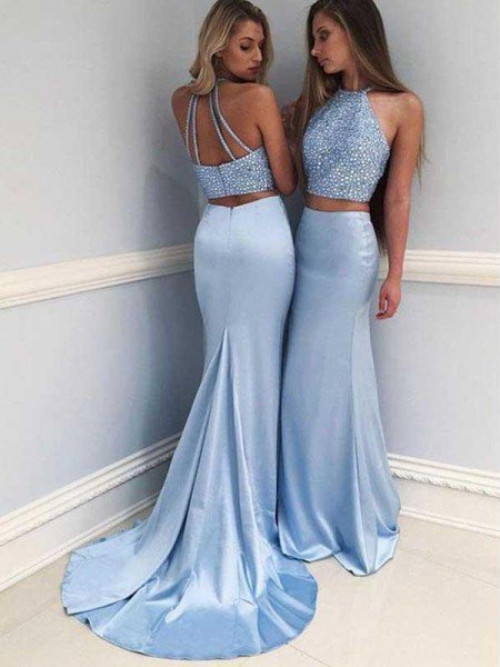 85d05957e751 Sheath Halter Sleeveless Sweep/Brush Train With Beading Satin Two Piece  Dresses