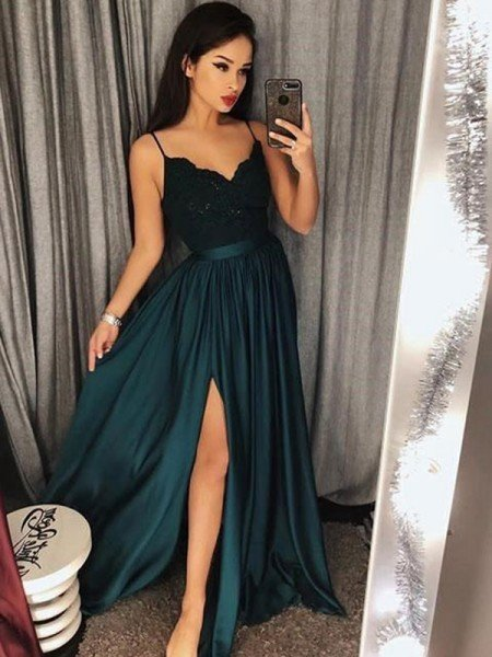 A-Line Spaghetti Straps Sleeveless Floor-Length With Lace Satin Dresses