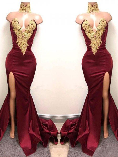 Trumpet/Mermaid Sweetheart Sleeveless Sweep/Brush Train Applique Satin Dresses
