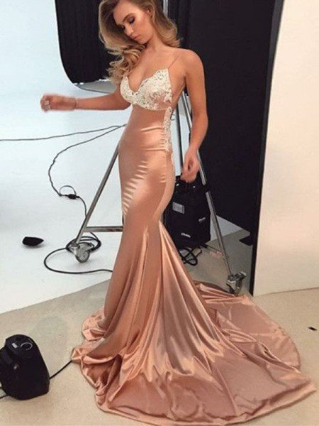 Trumpet/Mermaid Straps Sleeveless Sweep/Brush Train Satin Dresses