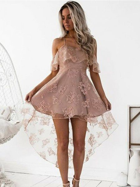 A-Line/Princess Off-the-Shoulder Lace Satin Short/Mini Dresses