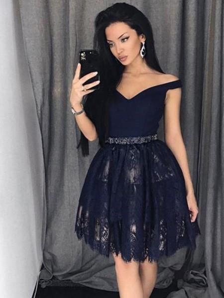 A-Line/Princess Sleeveless Satin Lace Off-the-Shoulder Beading Short/Mini Dresses