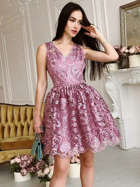 A-Line/Princess V-Neck Sleeveless Organza Ruched Short/Mini Dresses