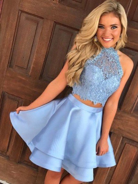 A-Line/Princess Satin Lace Sleeveless Halter Short/Mini Two Piece Dresses