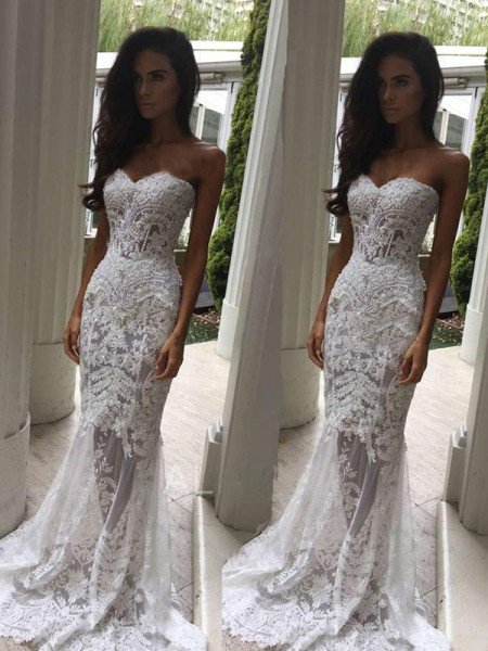 a3ce4cf3b9 Trumpet Mermaid Sweetheart Court Train Applique Sleeveless Lace Wedding  Dresses