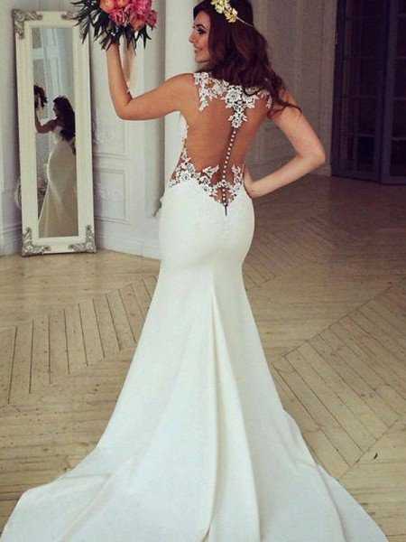 Trumpet/Mermaid Scoop Sleeveless Sweep/Brush Train Applique Lace Wedding Dresses