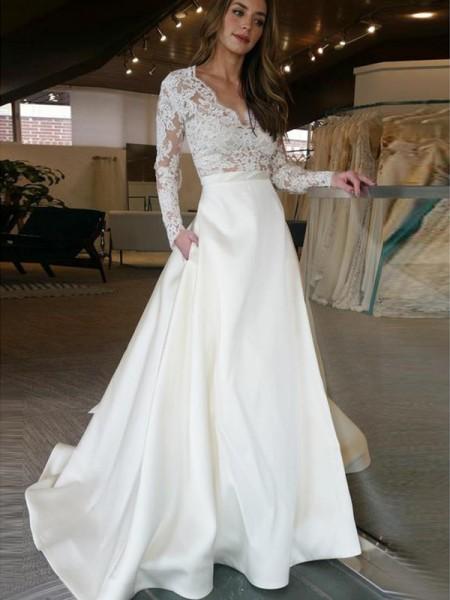 A-Line/Princess Long Sleeves Sweep/Brush Train V-neck Applique Satin Wedding Dresses
