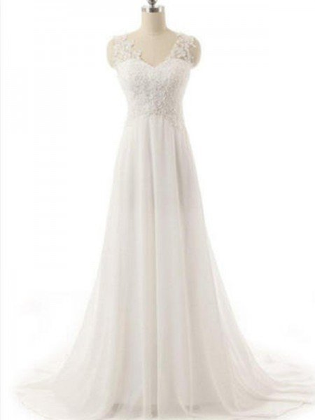 A-Line/Princess V-neck Sleeveless Sweep/Brush Train Lace Chiffon Wedding Dresses