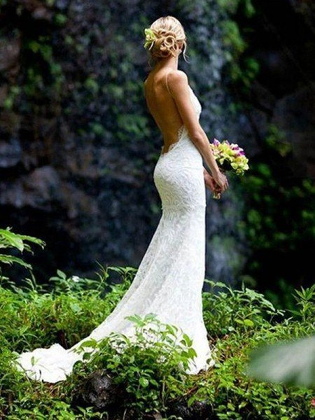 Sheath/Column Sleeveless V-neck Spaghetti Straps Court Train Lace Wedding Dresses