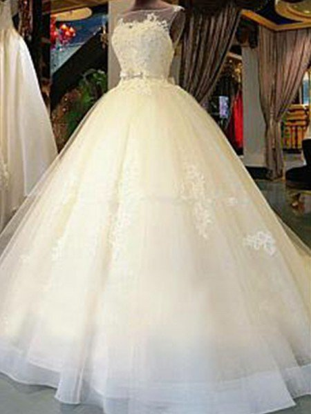 Ball Gown Scoop Cathedral Train Sleeveless Sash/Ribbon/Belt Applique Tulle Wedding Dresses
