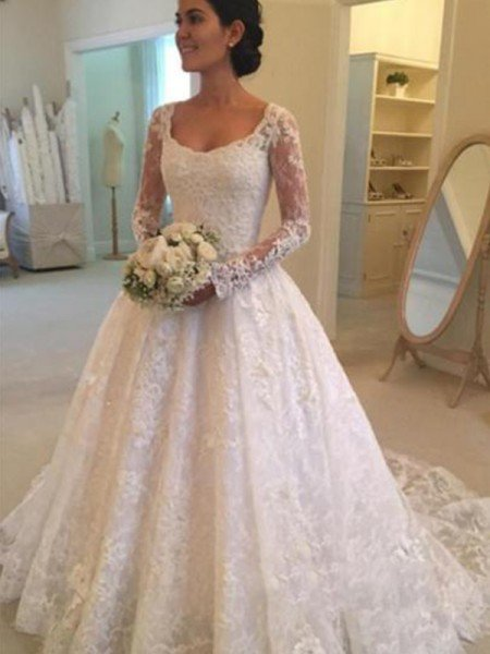 Ball Gown Long Sleeves Scoop Cathedral Train Ruffles Lace Wedding Dresses