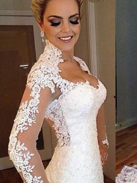 Trumpet/Mermaid Long Sleeves V-neck Sweep/Brush Train Applique Lace Wedding Dresses