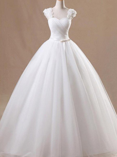 Ball Gown Sleeveless Square Floor-Length Ruffles Tulle Wedding Dresses
