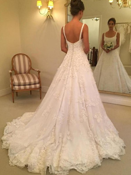 A-Line/Princess Sleeveless Straps Square Court Train Applique Lace Wedding Dresses