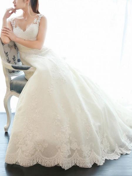 A-Line/Princess Sleeveless V-neck Court Train Applique Lace Wedding Dresses