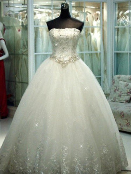 Ball Gown Strapless Beading Tulle Sleeveless Floor-Length Wedding Dresses