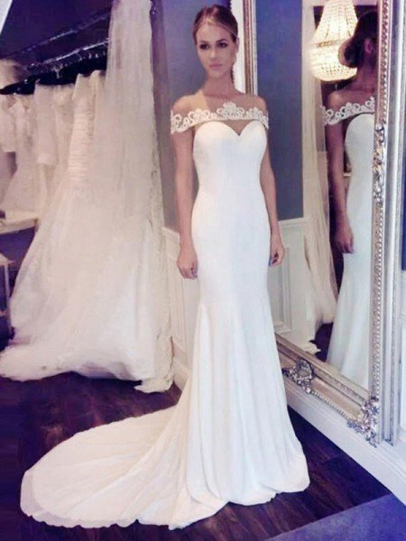 Trumpet/Mermaid Chiffon Scoop Lace Sleeveless Court Train Wedding Dresses