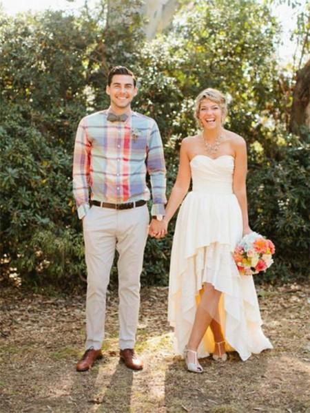 A-Line/Princess Chiffon Ruffles Sweetheart Sleeveless Asymmetrical Wedding Dresses