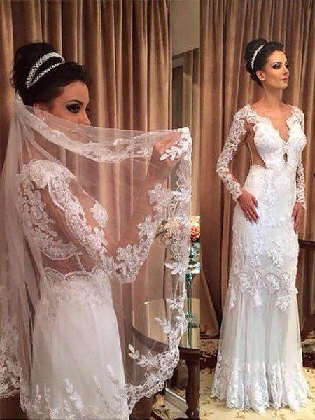 Sheath/Column V-neck Tulle Applique Long Sleeves Sweep/Brush Train Wedding Dresses