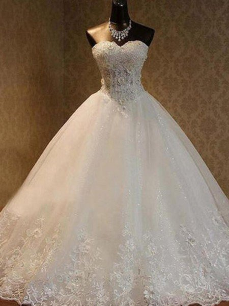 Ball Gown Tulle Beading Sweetheart Sleeveless Floor-Length Wedding Dresses