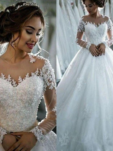 Ball Gown Applique Tulle Scoop Long Sleeves Chapel Train Wedding Dresses