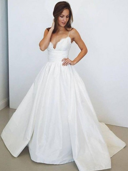 Ball Gown Sleeveless Spaghetti Straps Ruched Satin Sweep/Brush Train Wedding Dresses