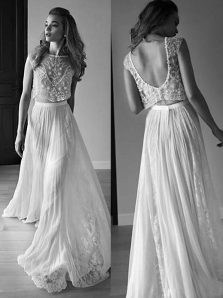 A-Line/Princess Sleeveless Scoop Tulle Beading Sweep/Brush Train Wedding Dresses