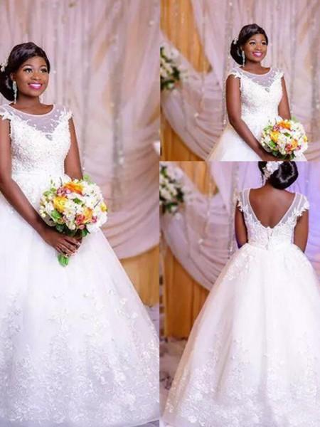 Ball Gown Tulle Scoop Sleeveless Applique Floor-Length Wedding Dresses