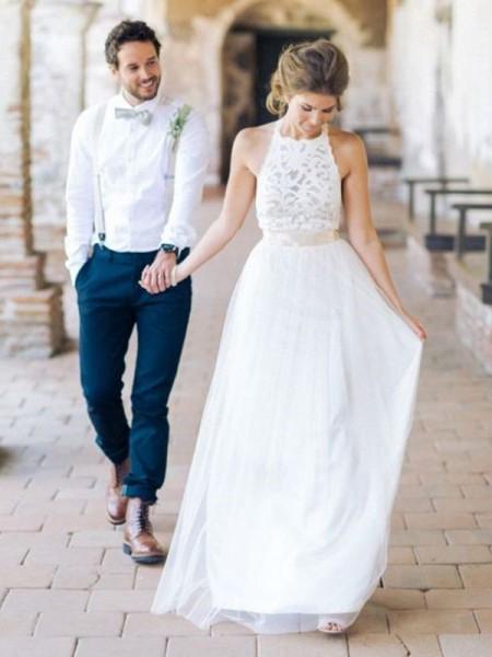 A-Line/Princess Tulle Sash/Ribbon/Belt Halter Sleeveless Floor-Length Wedding Dresses