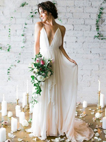 A-Line/Princess Chiffon Sleeveless Ruffles Spaghetti Straps Sweep/Brush Train Wedding Dresses