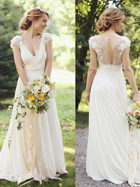 A-Line/Princess Chiffon Ruched V-neck Short Sleeves Sweep/Brush Train Wedding Dresses