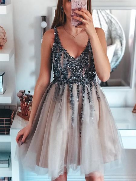 A-Line/Princess Tulle Sleeveless V-neck Sequin Short/Mini Dresses