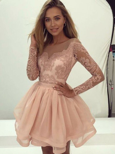 A-Line/Princess Long Sleeves Scoop Organza Applique Short/Mini Dresses