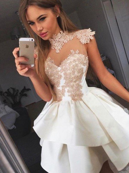 A-Line/Princess Sleeveless High Neck Satin Applique Short/Mini Dresses