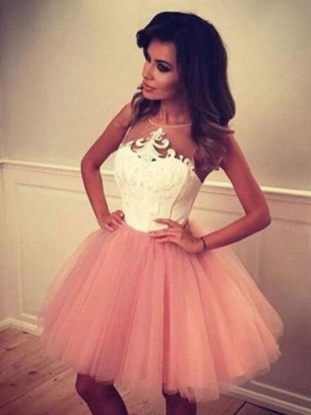 A-Line/Princess Sleeveless Bateau Tulle Applique Short/Mini Dresses